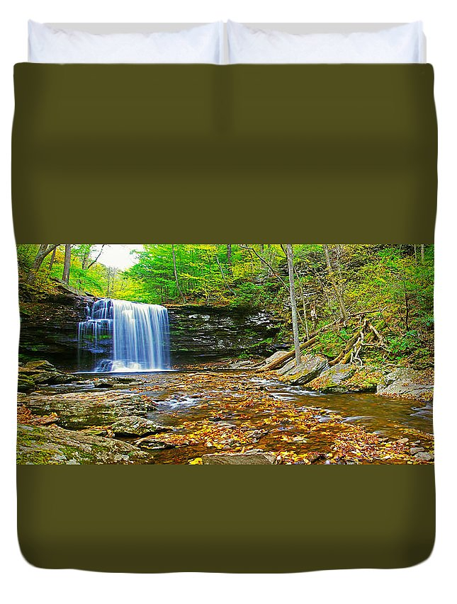 Pa Duvet Cover featuring the photograph Harrison Wright Falls Panorama by Rich Walter