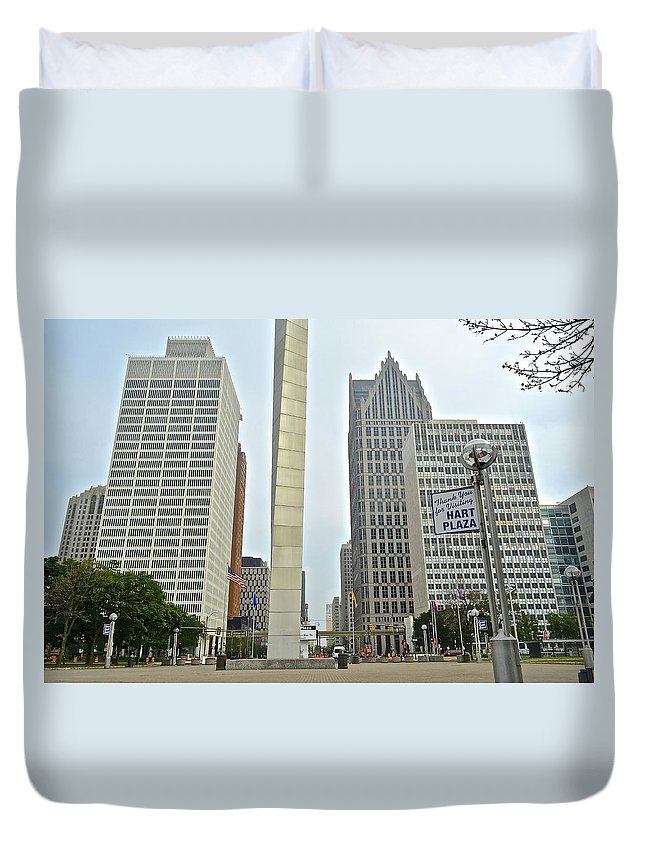 Detroit Duvet Cover featuring the photograph Hart Plaza Detroit by Frozen in Time Fine Art Photography