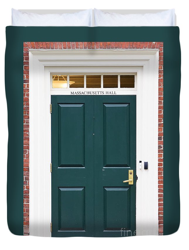 Boston Duvet Cover featuring the photograph Harvard Masssachusetts Hall Door by Jannis Werner