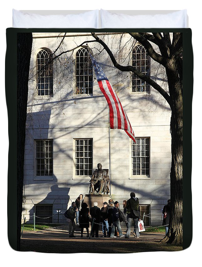 America Duvet Cover featuring the photograph Harvard Statue by Jannis Werner