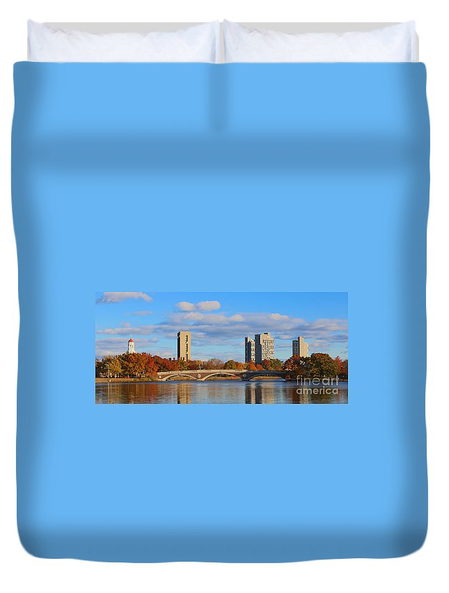 Andrew Canzanelli Duvet Cover featuring the photograph Harvard Towers Over The Charles by Jannis Werner