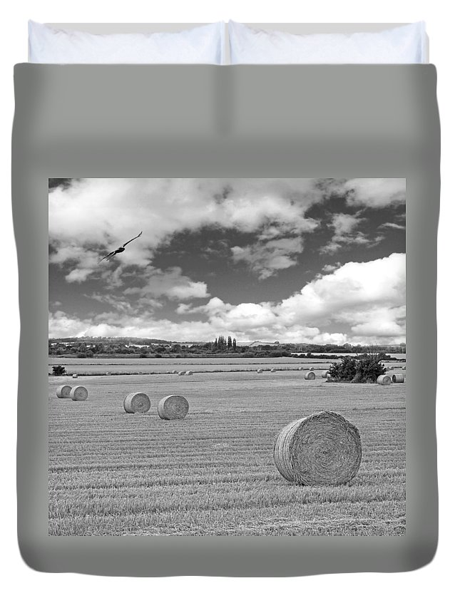 Wheat Field Duvet Cover featuring the photograph Harvest Fly Past Black And White Square by Gill Billington