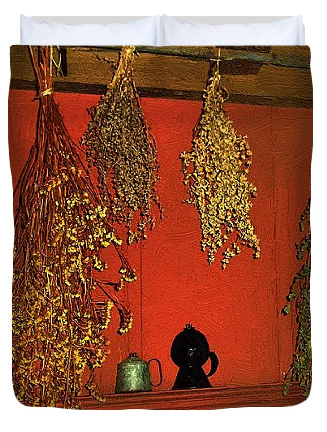 Herbs Duvet Cover featuring the painting Harvest Of Herbs by RC DeWinter