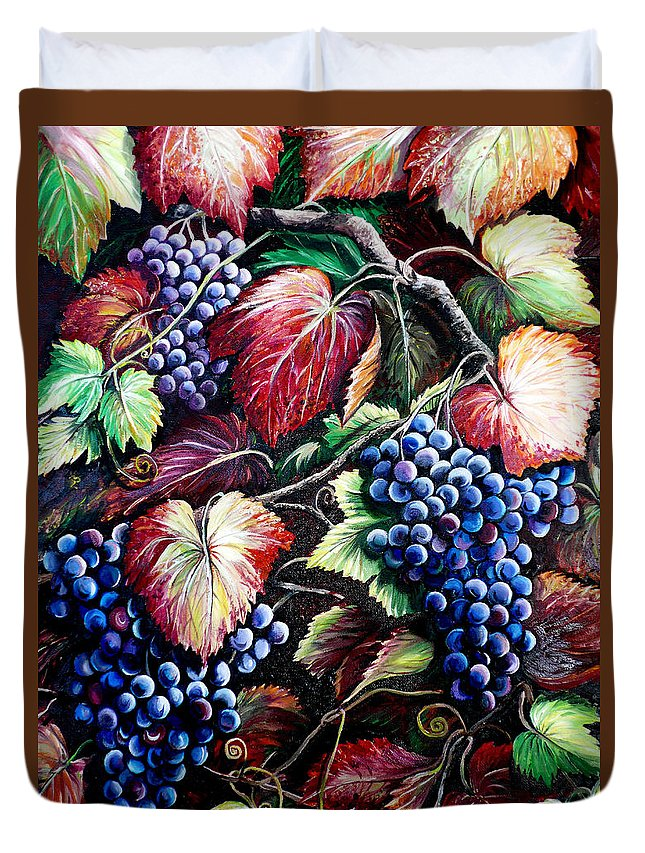 Grapes Painting Duvet Cover featuring the painting Harvest Time by Karin Dawn Kelshall- Best