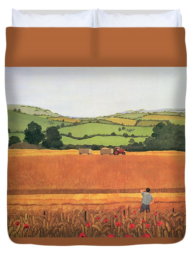 Tractor Combine Harvester Sheaves Poppy Duvet Cover featuring the photograph Harvesting In The Cotswolds by Maggie Rowe