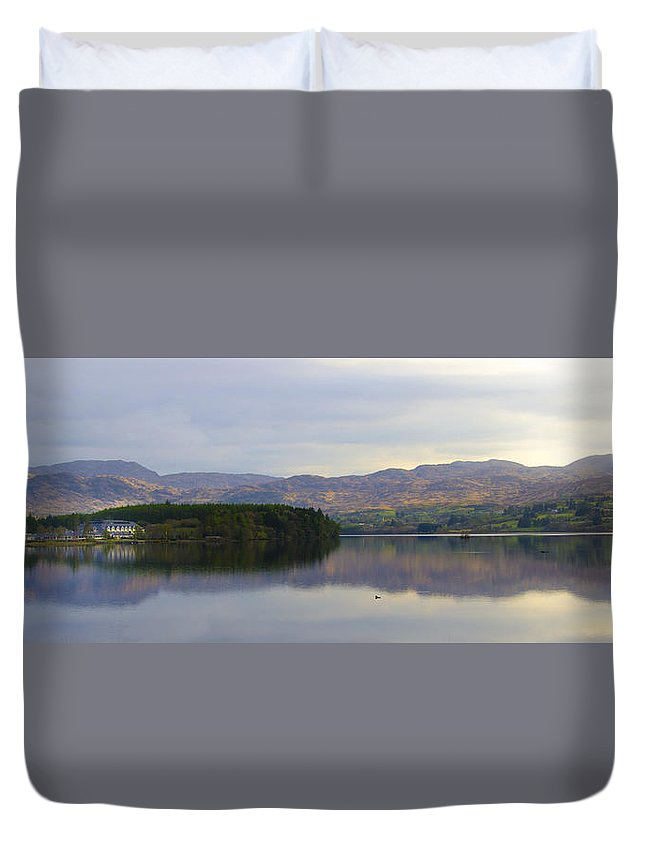Harveys Duvet Cover featuring the photograph Harveys Point On Lough Eske Panorama by Bill Cannon