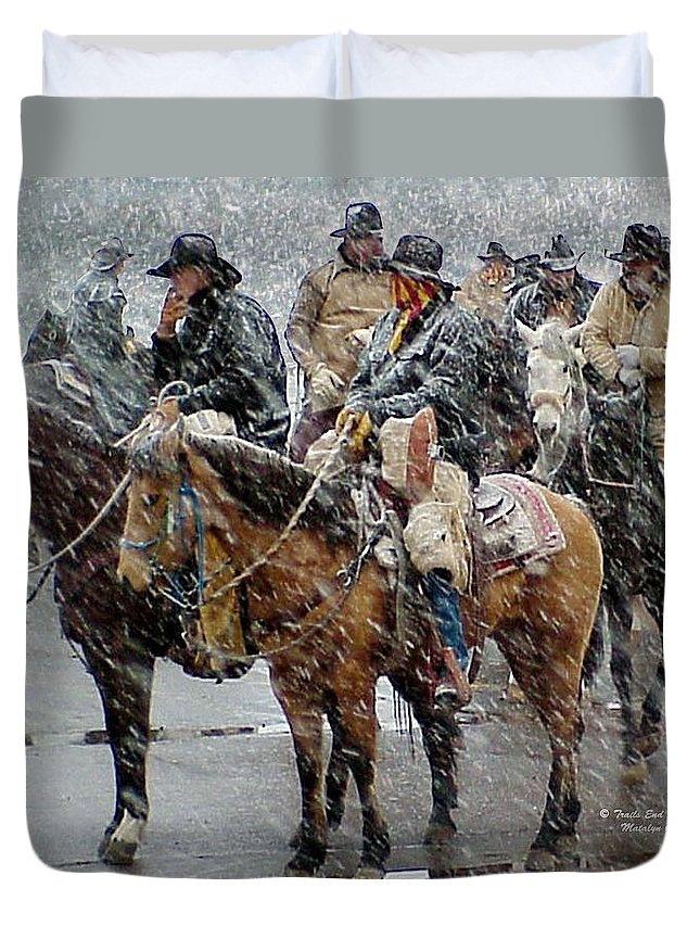 Western Duvet Cover featuring the photograph Hashknife Pony Express by Matalyn Gardner