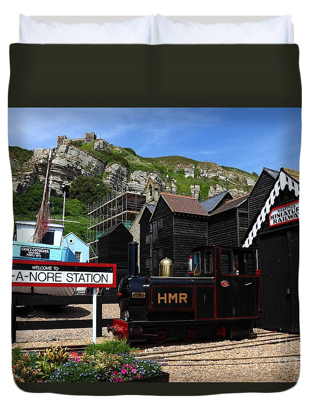 Hastings Duvet Cover featuring the photograph Hastings Miniature Railway by James Brunker