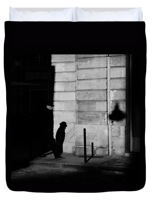 B&w Duvet Cover featuring the photograph Hat by Jean-Philippe Jouve
