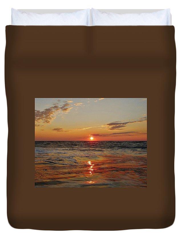 Mark Lemmon Cape Hatteras Nc The Outer Banks Photographer Subjects From Sunrise Duvet Cover featuring the photograph Hatteras Island Sunrise 2 7/30 by Mark Lemmon