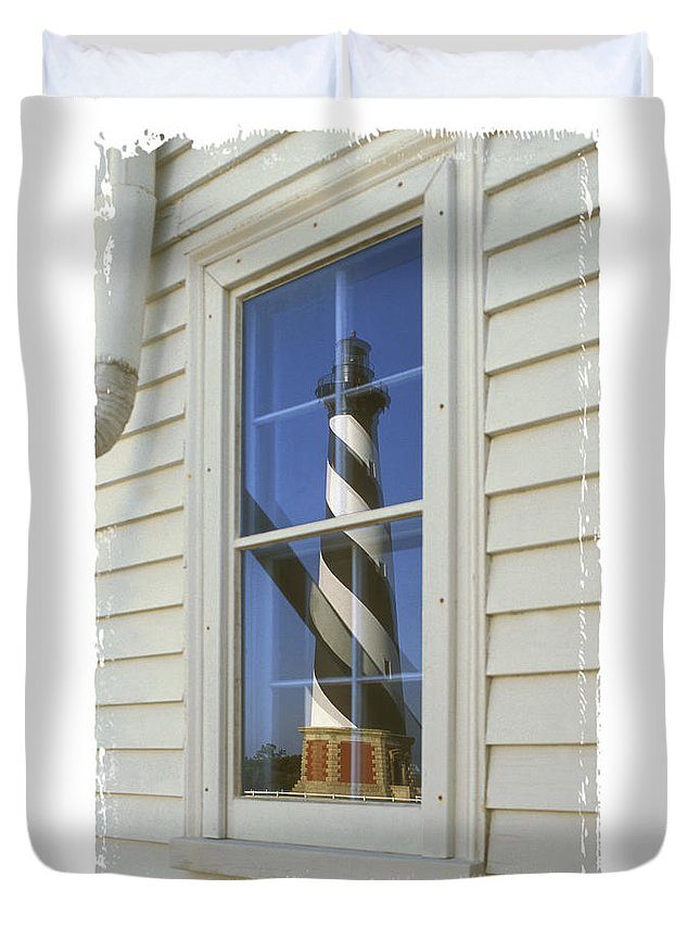 Cape Hatteras Lighthouse Duvet Cover featuring the photograph Hatteras Lighthouse S P by Mike McGlothlen
