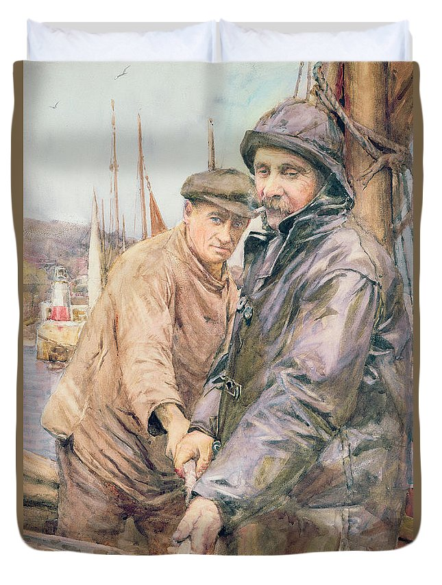 Cornish Duvet Cover featuring the drawing Hauling In The Net by Henry Meynell Rheam