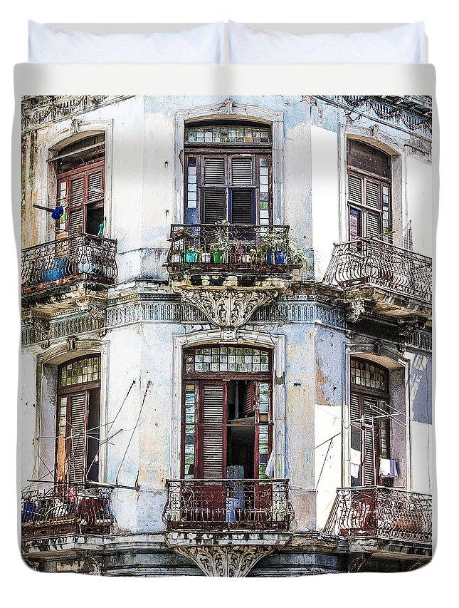 Cuba Duvet Cover featuring the photograph Havana Balconies by Jim Nelson