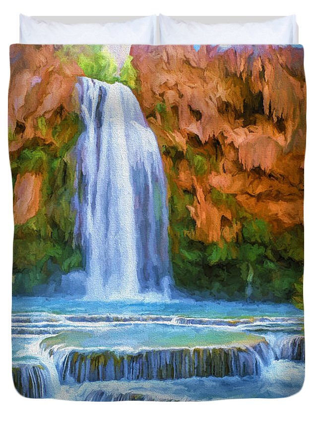 Fine Art Duvet Cover featuring the painting Havasu Falls by David Wagner
