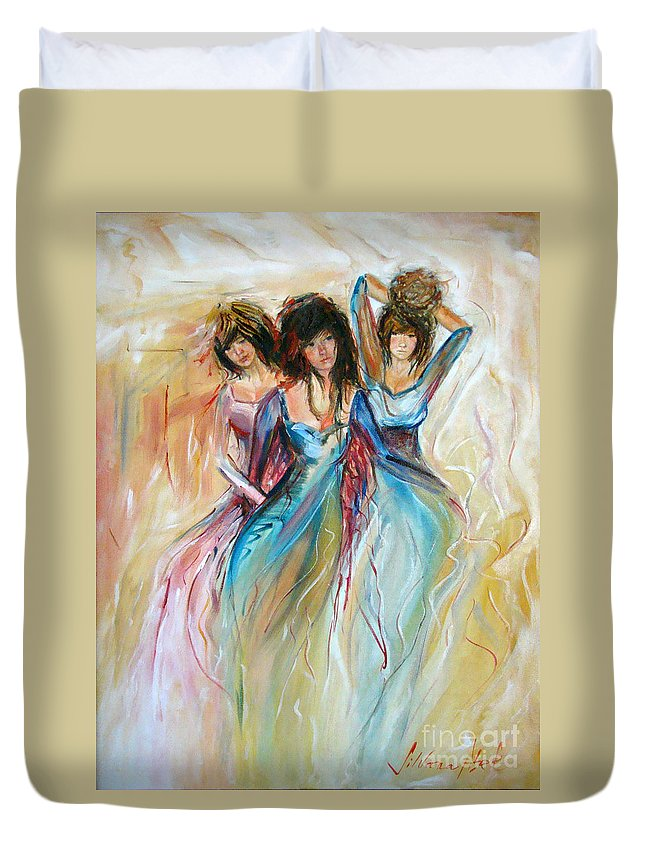 Contemporary Art Duvet Cover featuring the painting Having Fun by Silvana Abel