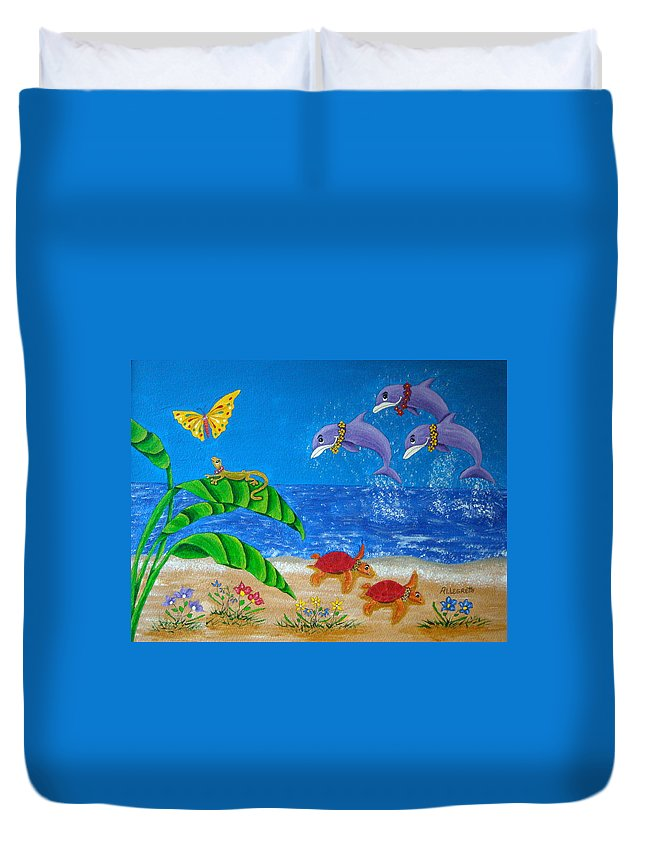Allegretto Art Duvet Cover featuring the painting Hawaiian Lei Day by Pamela Allegretto