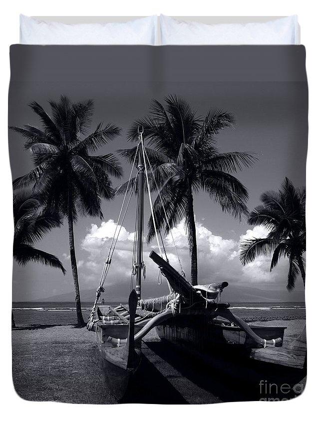 Aloha Duvet Cover featuring the photograph Hawaiian Sailing Canoe Maui Hawaii by Sharon Mau
