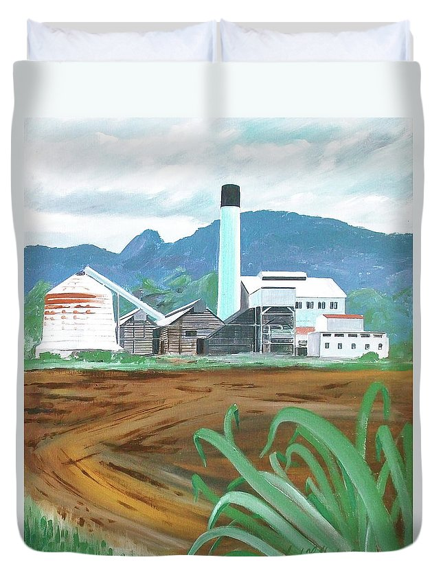 Sugar Mill Mountains Bare Field Hawaii Duvet Cover featuring the painting Hawaiian Sugar Mill by Frank Hunter