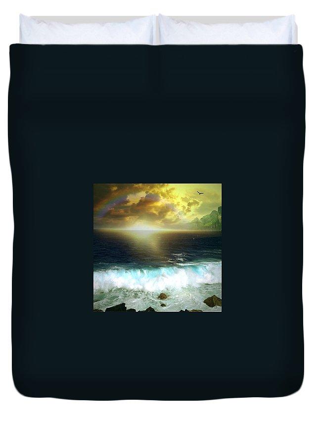 Hawaiiana Duvet Cover featuring the digital art Hawaiian Landscape 12 by D Preble