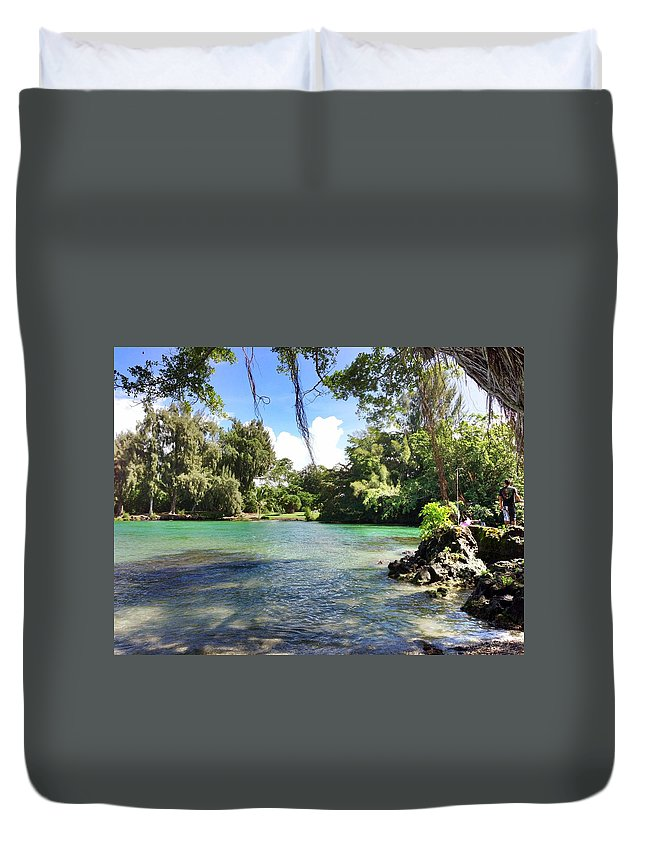 Hawaiian Landscape Duvet Cover featuring the digital art Hawaiian Landscape by D Preble