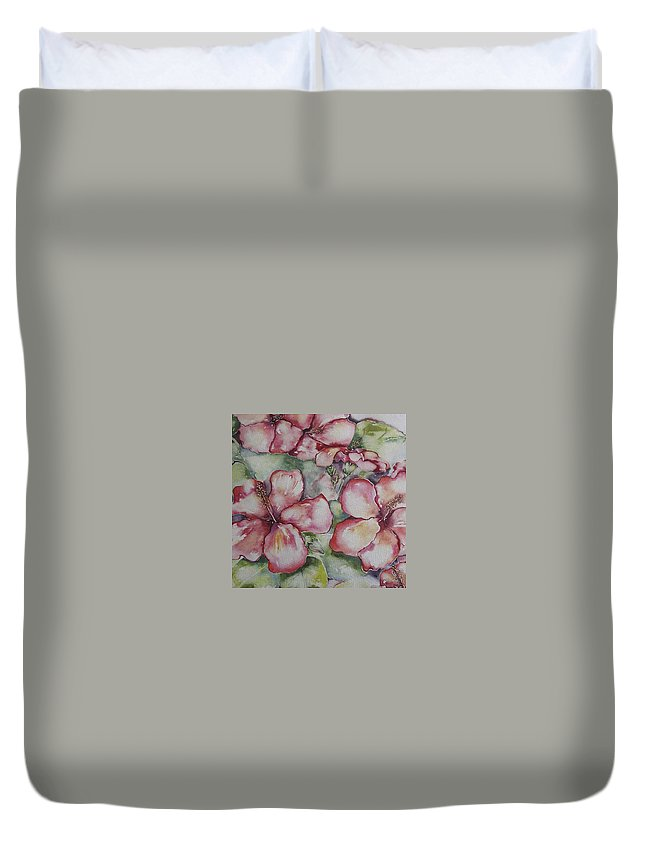 Hybiscus Duvet Cover featuring the painting Hawaiin Hybiscus by Cheryl Miller