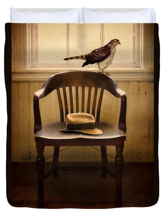 Hawk Duvet Cover featuring the photograph Hawk And Fedora On Chair by Jill Battaglia