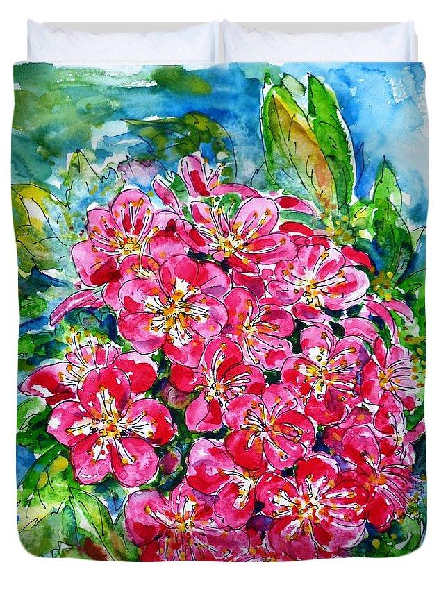 Hawthorn Blossom Duvet Cover featuring the painting Hawthorn Blossom by Zaira Dzhaubaeva