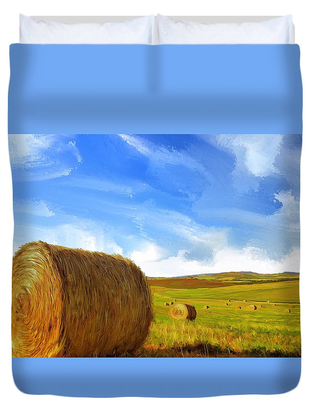 Hay Bales Duvet Cover featuring the painting Hay Bales 2 by Dominic Piperata
