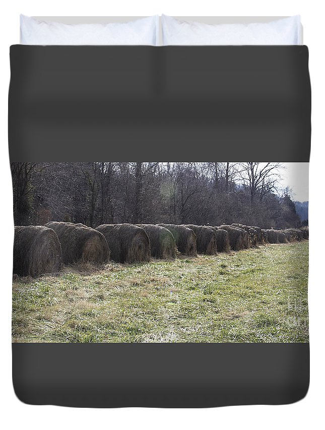 Hay Duvet Cover featuring the photograph Hay Bales 2 by Teresa Mucha