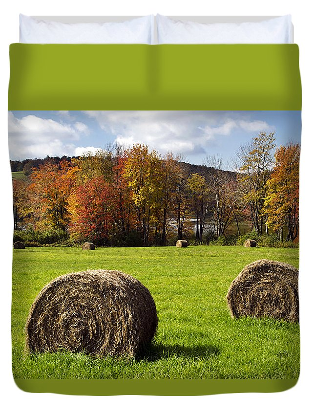 Fall Duvet Cover featuring the photograph Hay Bales And Fall Colors by Christina Rollo