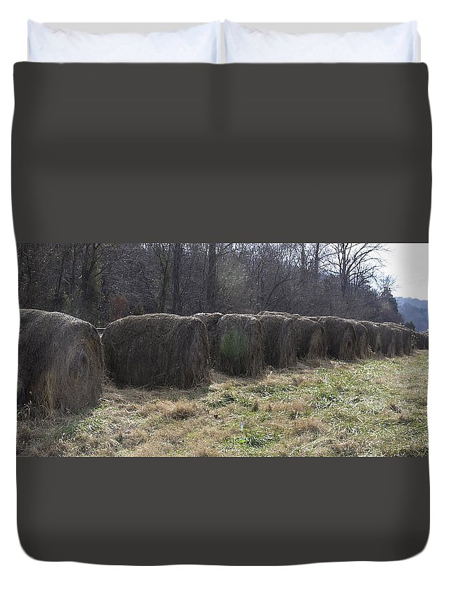 Hay Duvet Cover featuring the photograph Hay Bales by Teresa Mucha