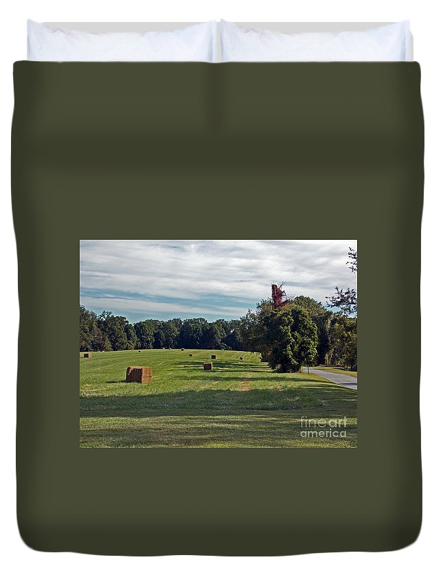 Scenic Tours Duvet Cover featuring the photograph Hay Crop by Skip Willits