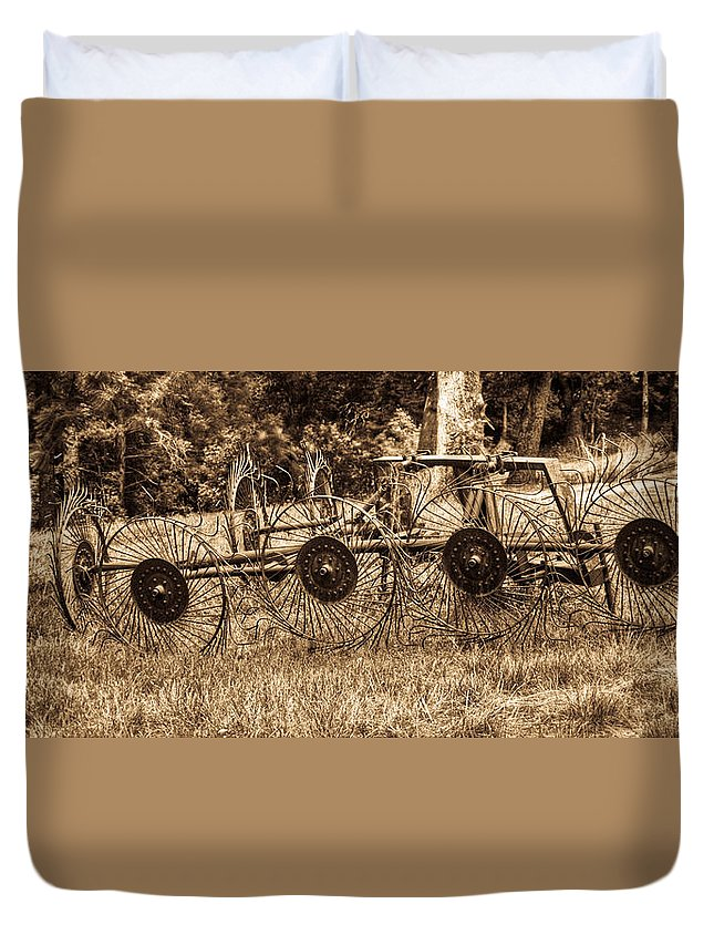 Hay Duvet Cover featuring the photograph Hay Rake In Sepia 1 by Douglas Barnett