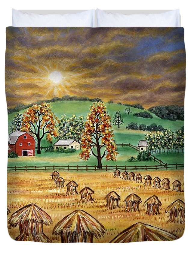 Landscapes Duvet Cover featuring the painting Hay Stacks by Linda Mears