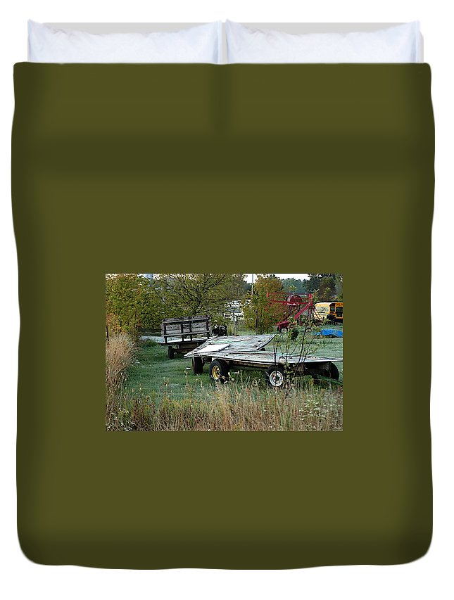 Farming Duvet Cover featuring the photograph Hay Wagons by Joseph Yarbrough