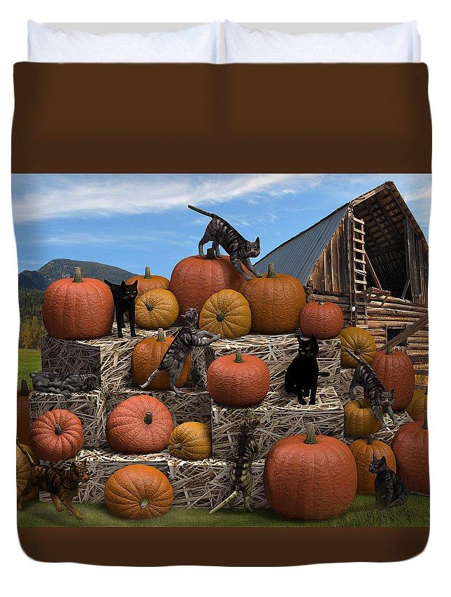 3d Duvet Cover featuring the digital art Haycats N' Pumpkins by Jennifer Schwab
