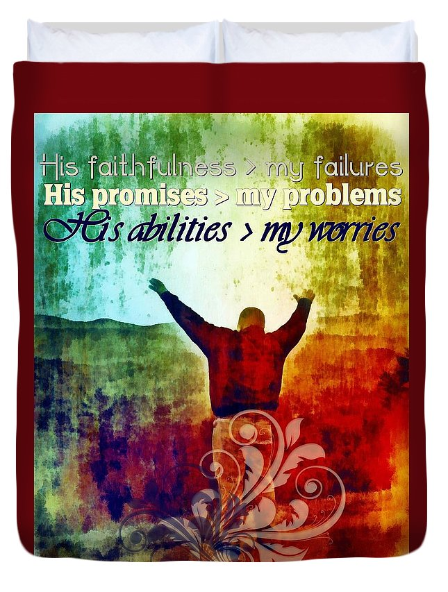Jesus Duvet Cover featuring the digital art He Is Greater by Michelle Greene Wheeler