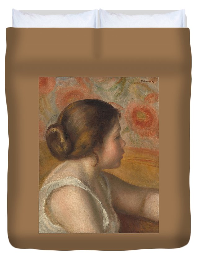 Auguste Renoir Duvet Cover featuring the painting Head Of A Young Girl by Auguste Renoir
