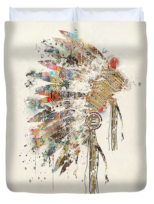 Native Headdress Duvet Cover featuring the painting Headdress by Bri Buckley