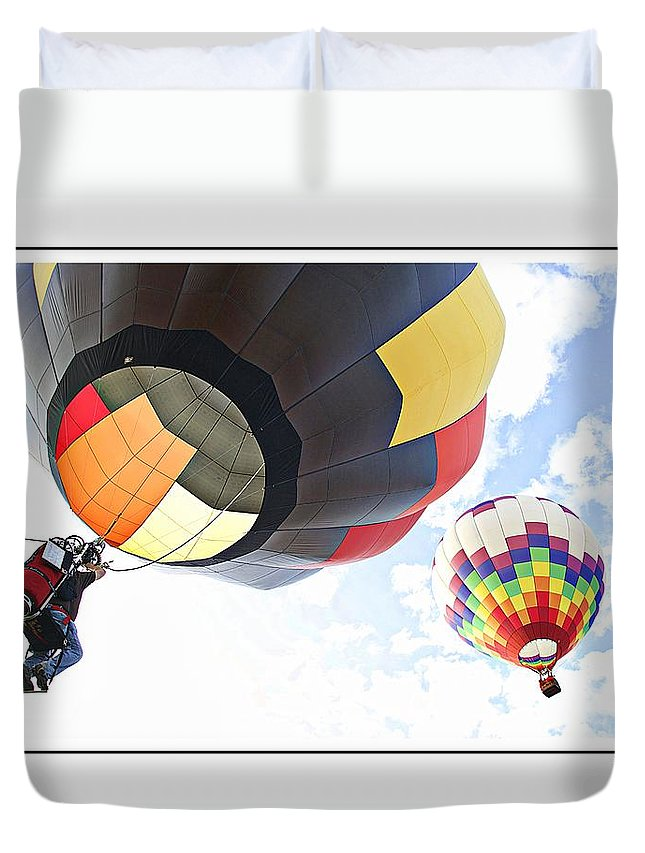 Hot Air Balloon Duvet Cover featuring the photograph Headed For The Moon by Alice Gipson