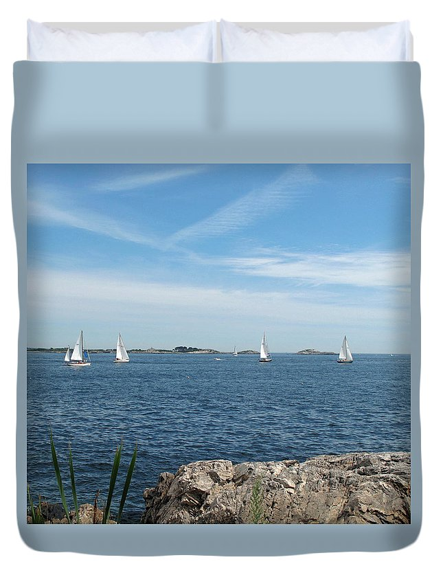 Seascape Duvet Cover featuring the photograph Heading Out by Barbara McDevitt