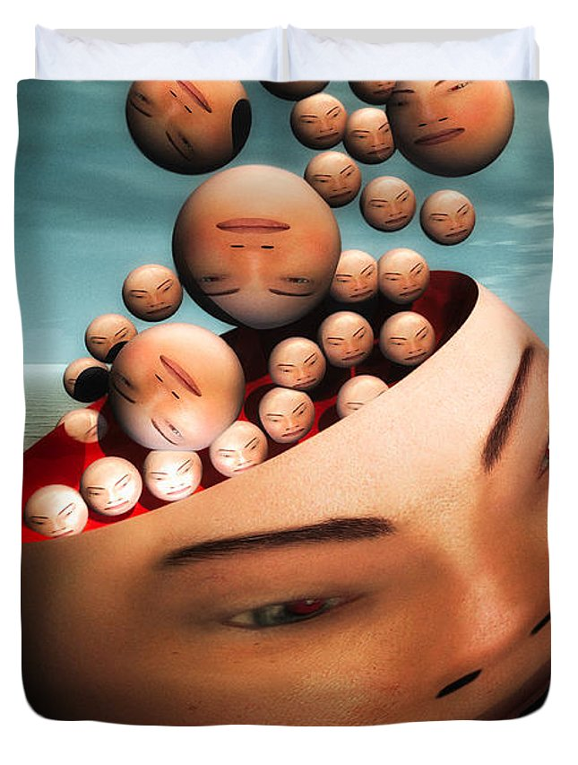 Surreal Duvet Cover featuring the digital art Heads by Bob Orsillo