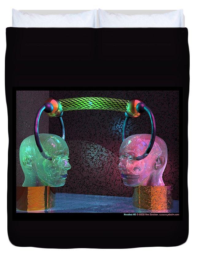 Pink Duvet Cover featuring the digital art Headset 2 by Ann Stretton