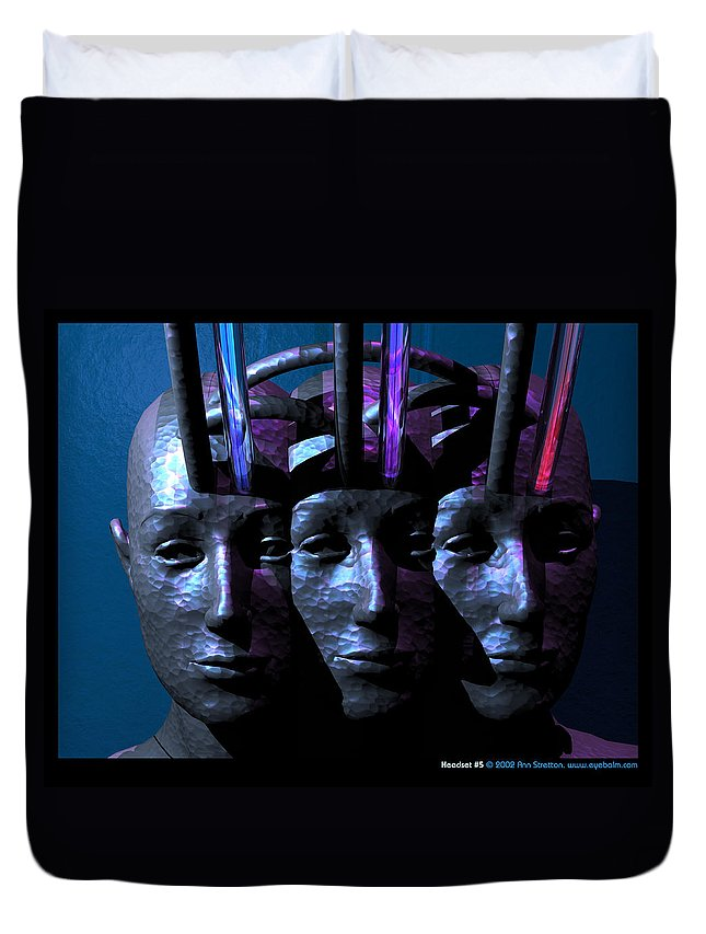 Abstract: Figure; Floral & Still Life: Objects Duvet Cover featuring the digital art Headset 5 by Ann Stretton
