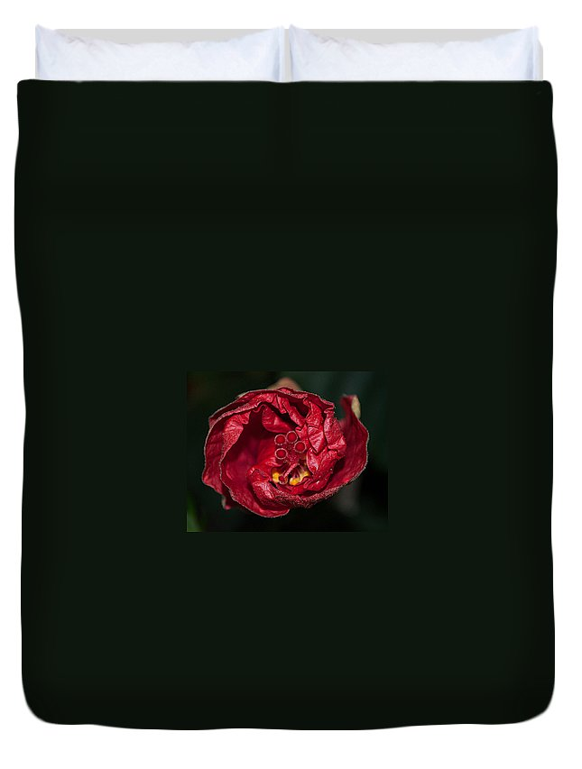 Red Duvet Cover featuring the photograph Heart Of A Hibiscus 2 by Photos By Cassandra