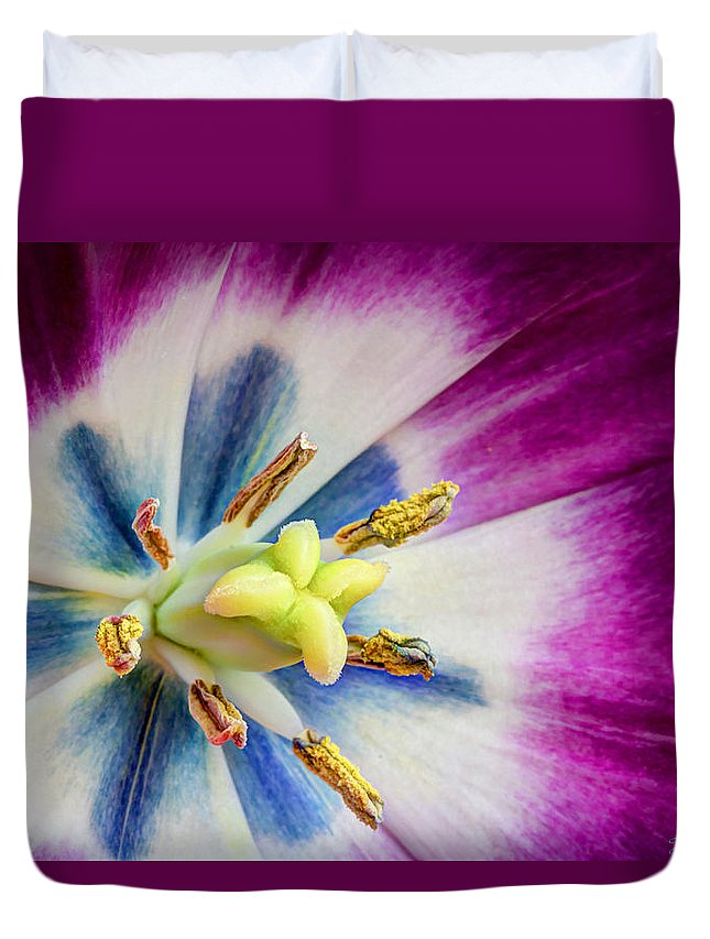 Purple Duvet Cover featuring the photograph Heart Of A Tulip by Heidi Smith