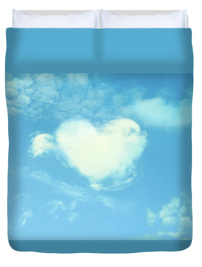 Outdoors Duvet Cover featuring the photograph Heart-shaped Cloud by Yurif