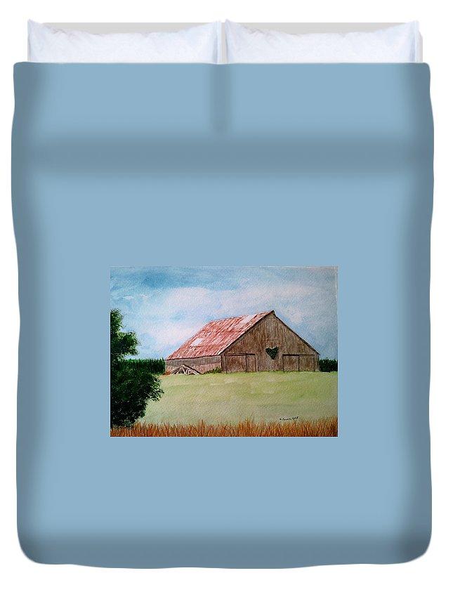 Barn Duvet Cover featuring the painting Heartland Barn by B Kathleen Fannin