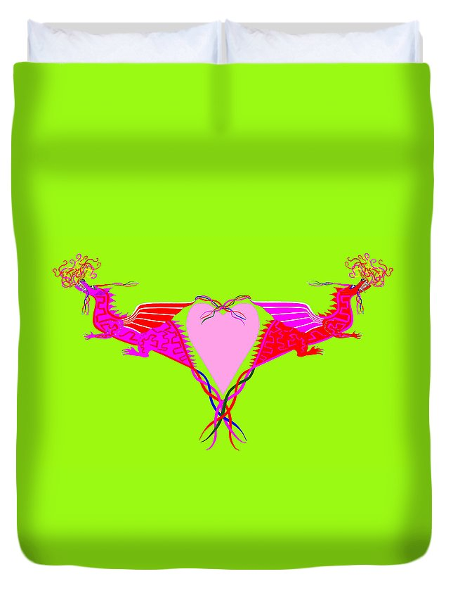 Dragons Duvet Cover featuring the drawing Hearts Afire by Blythe Ayne