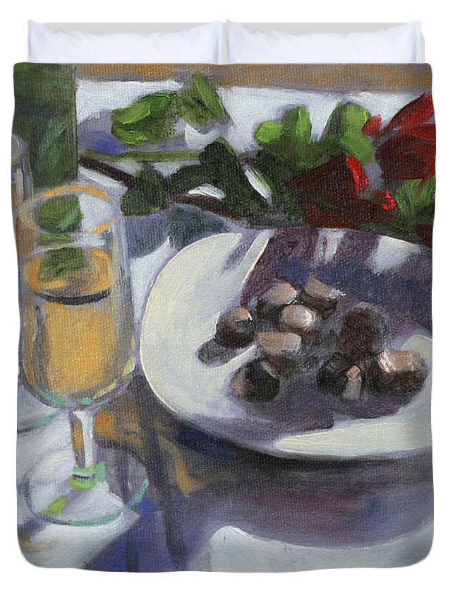 Champagne And Chocolate For Valentines Duvet Cover featuring the painting Hearts And Flowers by David Zimmerman
